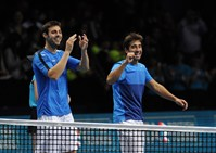 Marcel Granollers and Marc Lopez (ESP) celebrate their victory at the ATP World Tour Finals